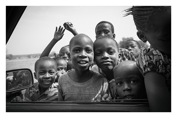 Village Kids Crowd the Car, Upcountry, The Gambia