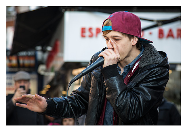 Beat box busker, Leicester Square, London.