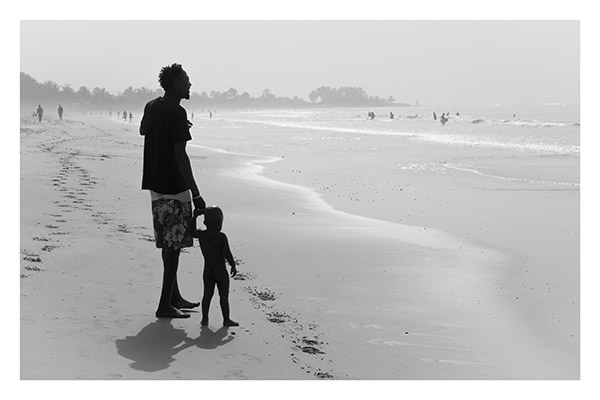 Father and Son Assess the Surf, Kotu Beach, The Gambia