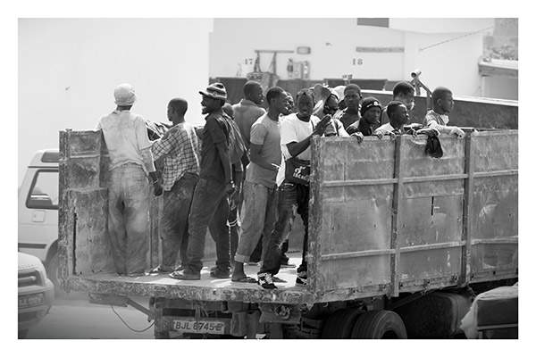 Construction Workers Heading Home in the Company Limousine, The Gambia