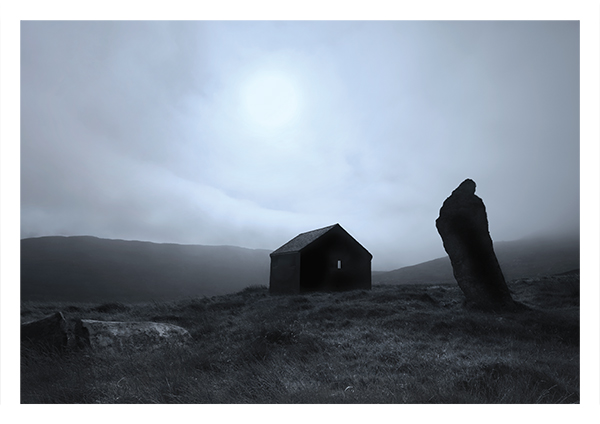 Brevig standing stone and abandoned hut, Barra