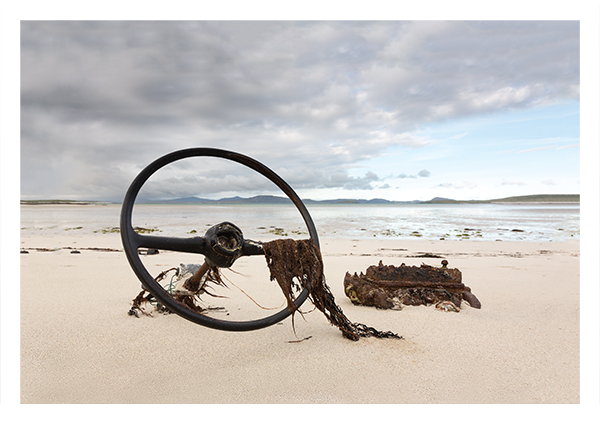 Steering wheel on beach, Barra